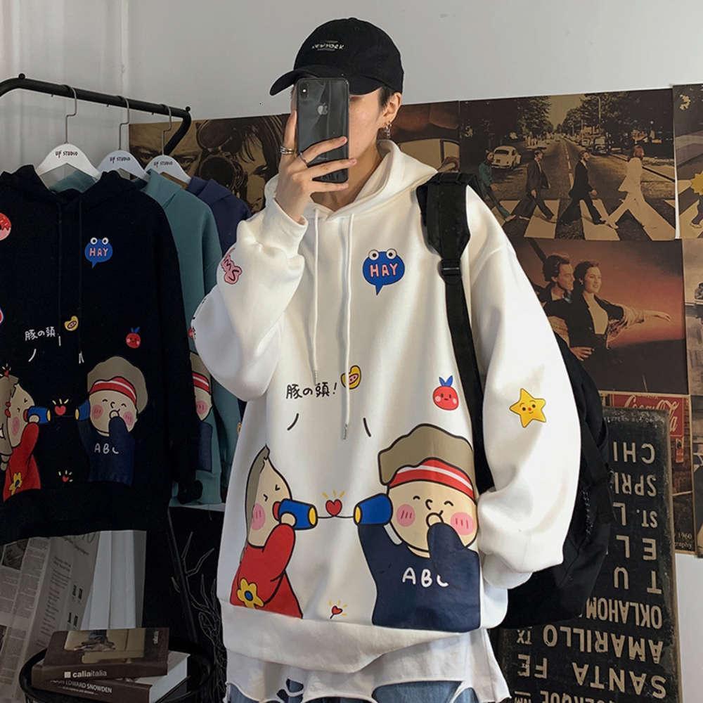 толстовки мужская осень мультфильм с капюшоном свитер корейской моды пару плюшевые печатные пуловер толстовка