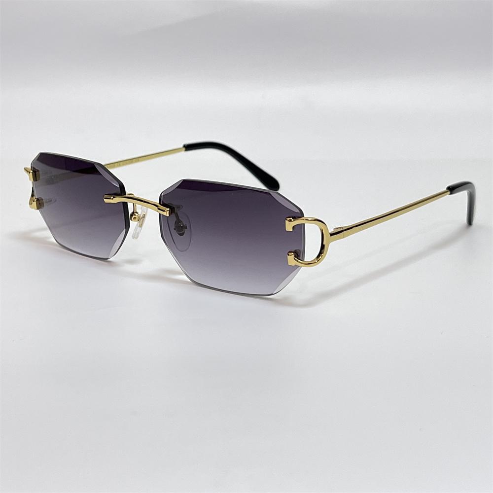Luxo Designer Mens Óculos de Sol Diamante Lente De Lente Design Piccadilly Irregular Sem Moldyeless Homem Moda Sul Sun Óculos de Sol 18K Gold Vintage Vintage Óculos 0103