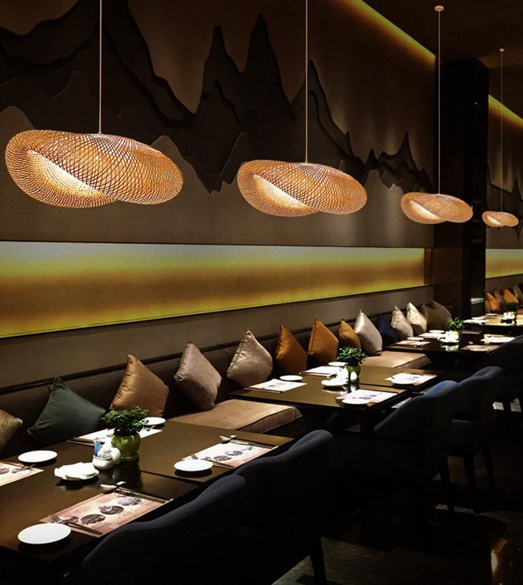 Modern Japan Pingente Luzes Bambu Lump Restaurante Hotel Asia para Sala de estar Pendurado Cozinha Ledfixtures