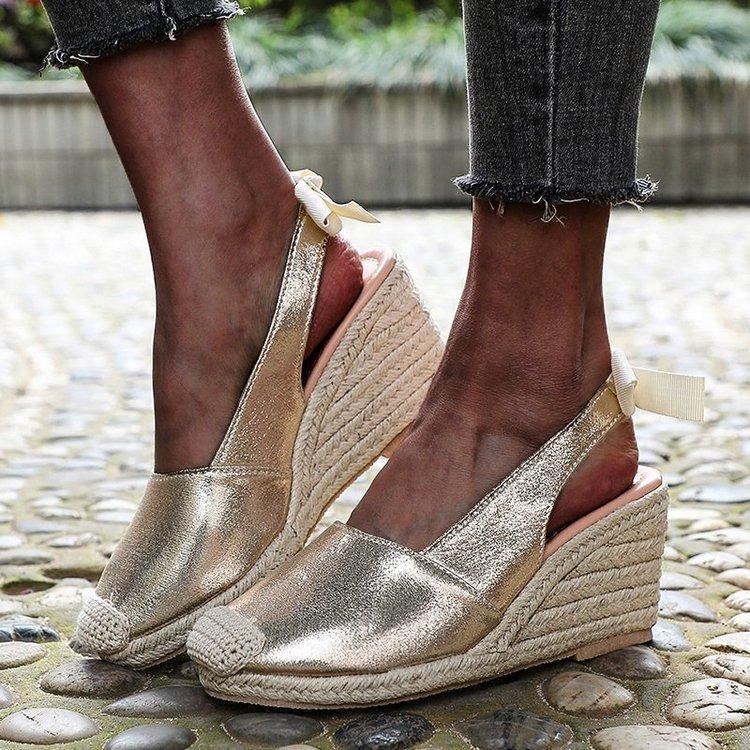 Dış Ticaret Noktası-Balıkçı Ile Çim Şev - Balıkçı Ayakkabıları Büyük Kod Yay-Kravat Renk Topuk Sandalet Kız Elbise