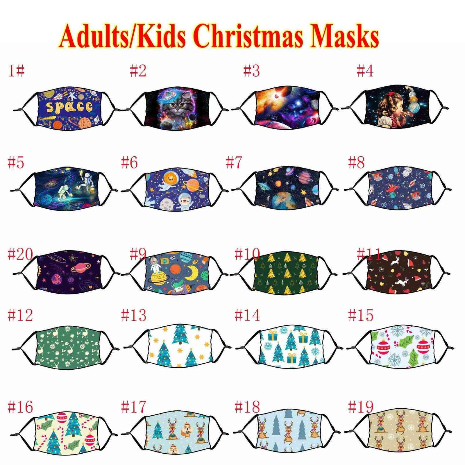 Máscaras estadounidenses 3D Moda Navidad Impresión de la Navidad Party Adultos Niños Mascarillas Cara Lavable Cotonera Reutilizable Anti-polvo Cubierta con filtro FY4260
