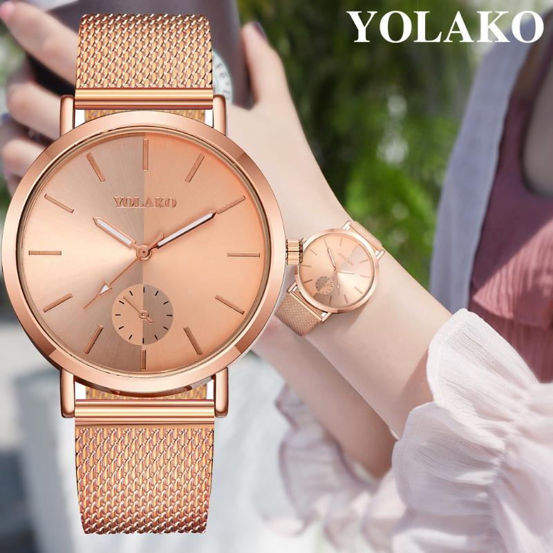 Armbanduhren Yolako Damen Casual Quartz Kunststoff Lederbanduhr Analog Handgelenk