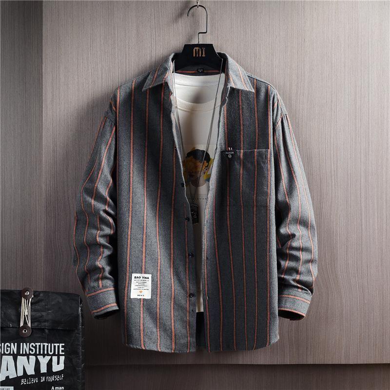 스트라이프 긴 소매 셔츠 남자 2021 봄과 가을 추세 캐주얼 청소년 셔츠의 한국어 버전 잘 생긴 툴링