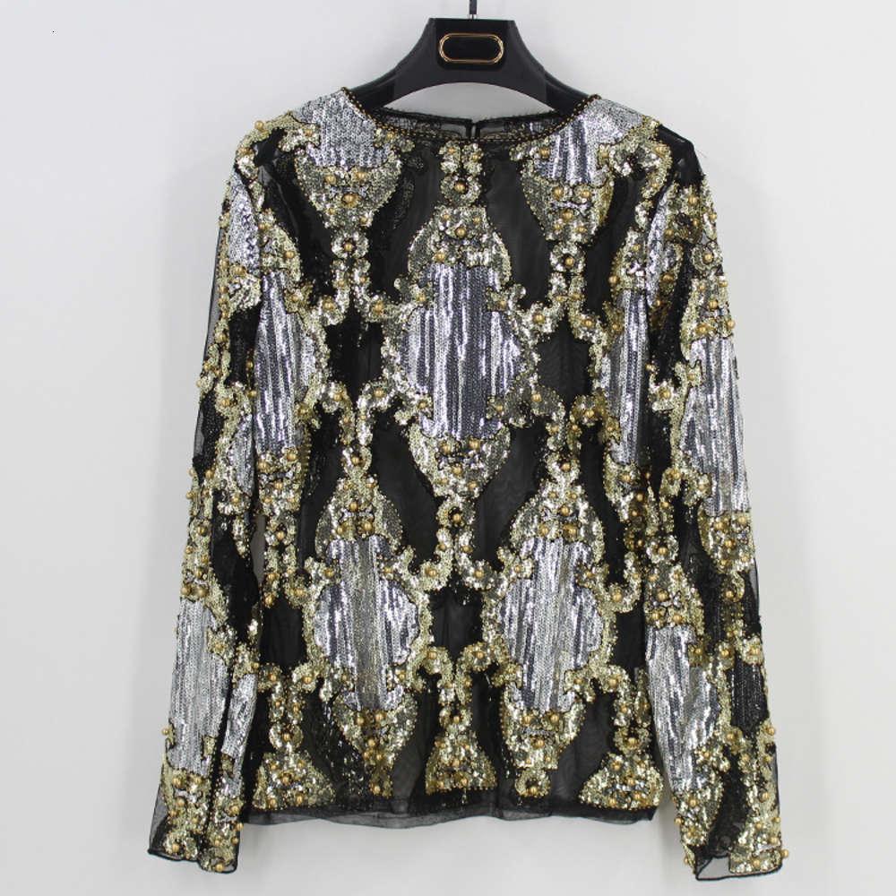 Летняя взлетно-посадочная полоса роскошные женщины сексуальные явные сетчатые рубашки с длинным рукавом блесток с бриллиантами украшенная вышивка блузка мохера