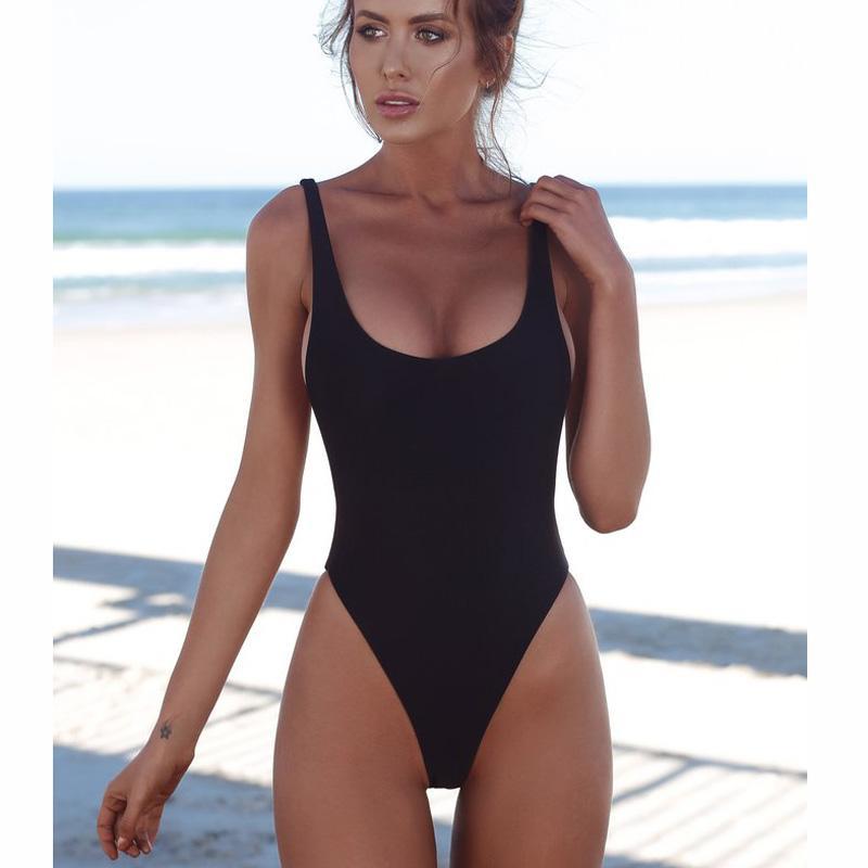 Beachwear maiô mulheres sexy mulher um pedaço swimsuit sólido fêmea backless brasileiro swimwear mulheres monokini tanga preto 2018