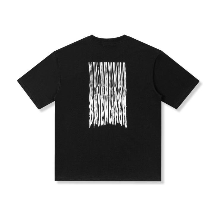 2021 유럽 럭셔리 파리 여름 티셔츠 폭포 인쇄 티 남성 여성 면화 짧은 소매 하이 스트리트 티셔츠