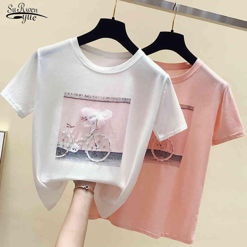 Tshirts de algodón camisetas de la manera fresca de la moda camiseta de verano de la femenina blanca camiseta casual de Femme Pink Top Top 4767 50 210508