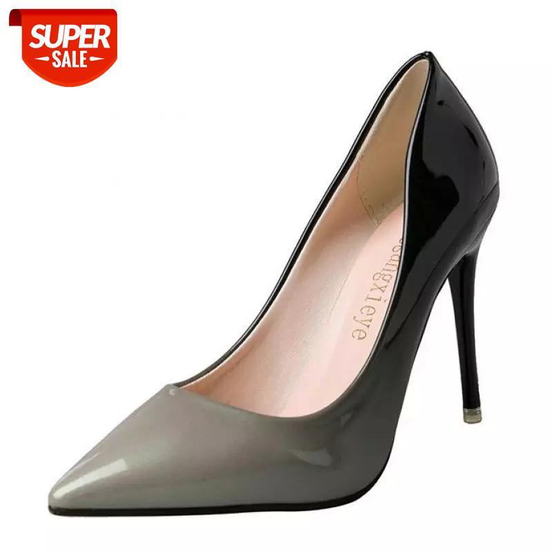 2019 saltos altos mulheres bombas sexy nightclub casamento sapatos casuais apontados festas vestido gradiente super verão # gk0p