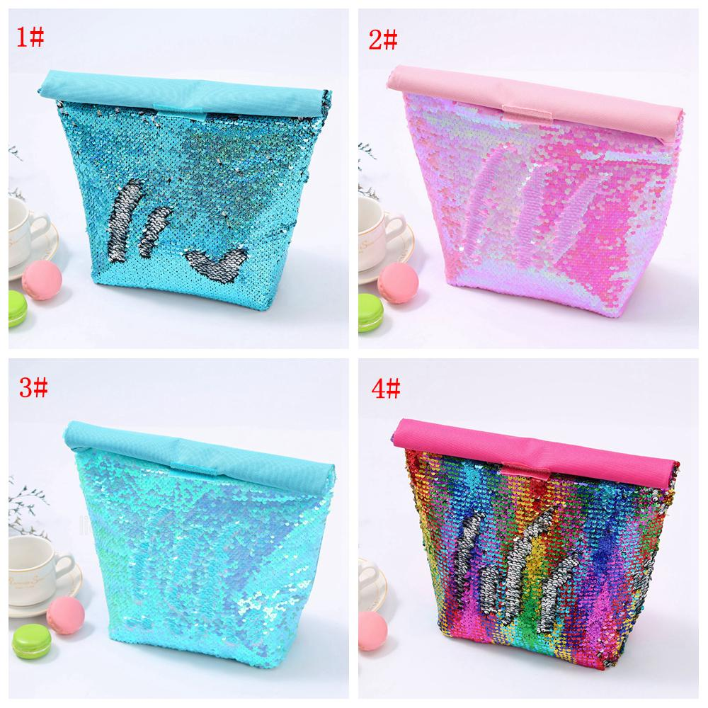 4styles Mermaid Sequined Coolers Handbag Bento Bag Office Food Containers outdoor picnic Children kids Insulated Lunch Bag ZHL5699