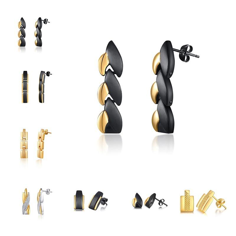 Cool Black Gold Earrings For Men Titanium Magnetic Energy Long Stud Earring Mens Healthy Gifts Fashion Jewelry Ear Clip Accessory