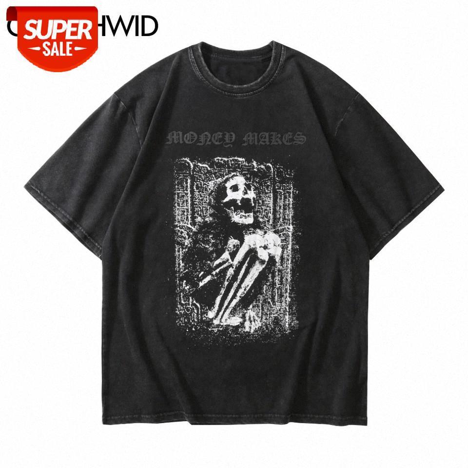 Streetwear afligido camisetas Crânio de esqueleto do quadril manga curta camisetas T-shirt gótico da rocha do punk camiseta Tops de Harajuku # 9q6o
