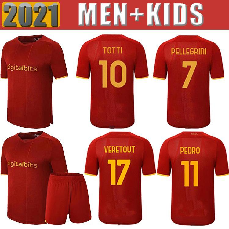 Soccer Jersey Zaniolo Roma Abraham Pedro Pastore Roma Totti Kluivert Kolarov 21 22 Camicia da calcio 2021 2022 Uomo + Kid Kit Kit Uniformi Maillot 888