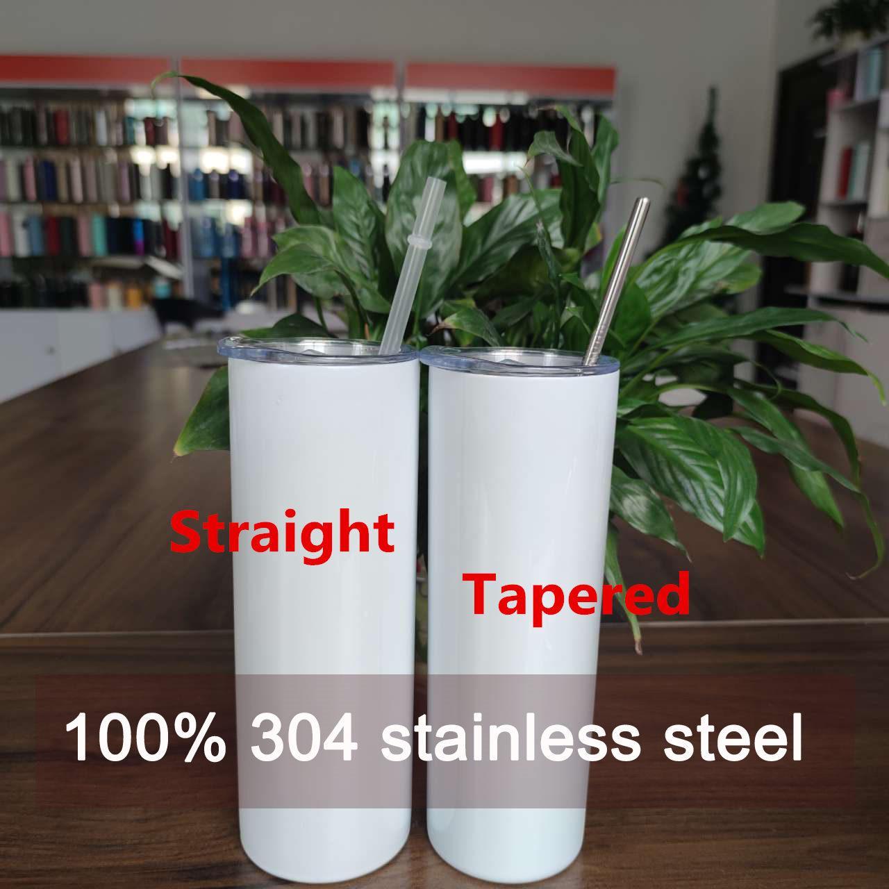 الأسهم الأمريكية مستقيم 20 أوقية التسامي بهلوان فارغة 100٪ 304 الفولاذ المقاوم للصدأ بهلوان الكؤوس فراغ معزول 600 ملليلتر بهلوان أكواب القهوة الأبيض