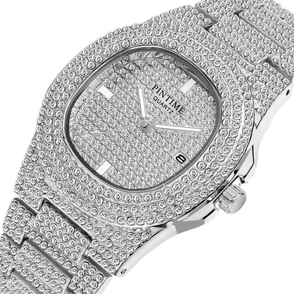 Gota Envio de Diamante Gelado de Hip Hop Quartz Gold Men Relógios Marca Luxe Steel Man Clock Masculino Relogio