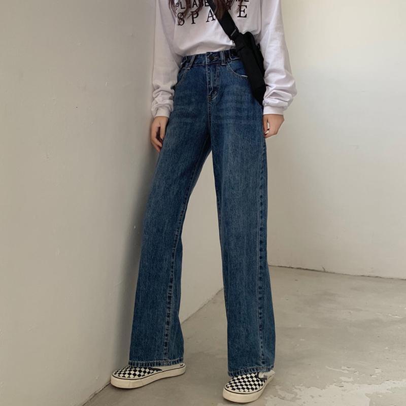 Alta cintura jeans oscuros 2021 estudiantes coreanos rectos pantalones sueltos y delgados.