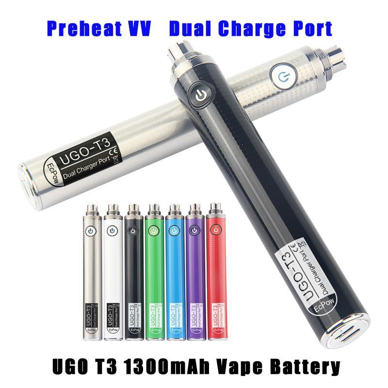 510 THEAD Batterie de préchauffage EGO Twist Valtion variable Tension EVOD 1300MAH Vision Ugo T3 Vaporizers Batteries
