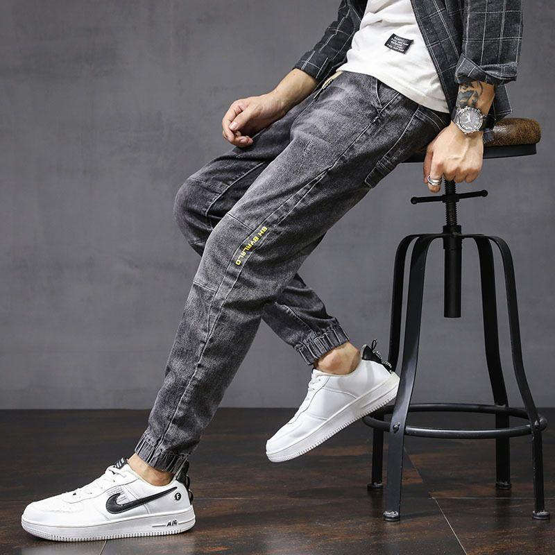Jeans para hombre Otoño e invierno Nueva Moda coreana Harun Pequeño Pierna Pantalones de corsé