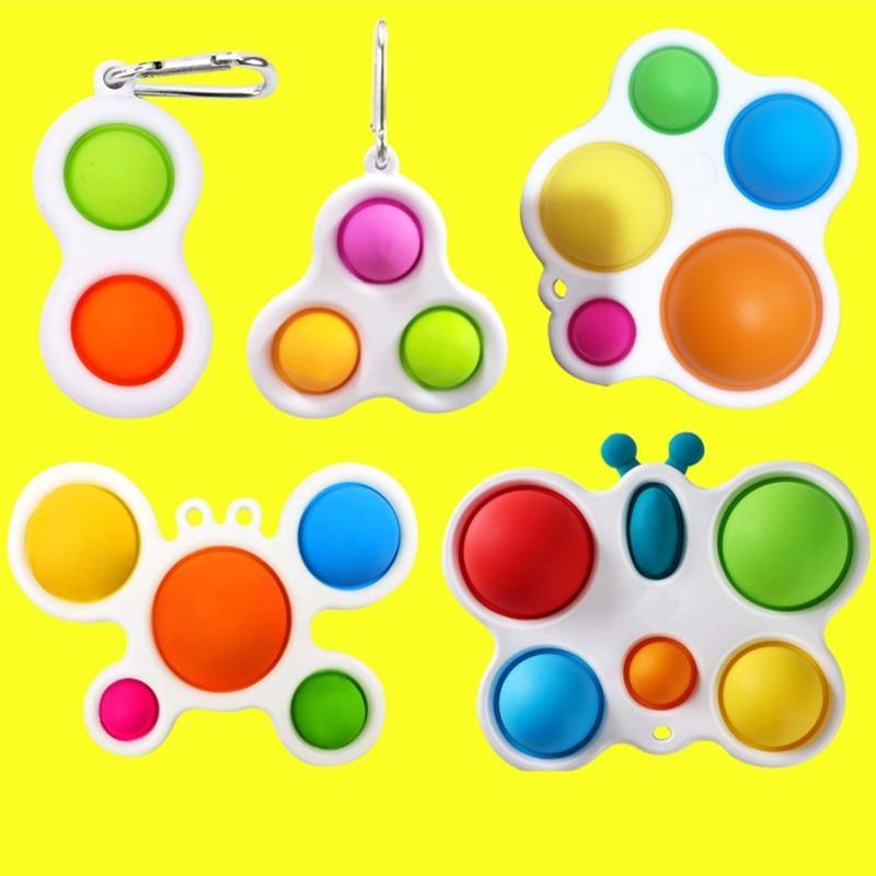 Llavero de burbuja llavero descompresión juguete empuje burbuja niños adulto novela fidget juguete simple juguetes juguetes llaveros H31shq5