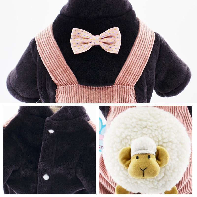 Собака густая бархатная платье Teddy котенок осенью зима маленькая домашняя одежда одежда