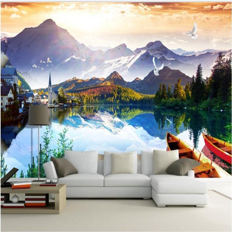 Shuhiko Custom Large Fresco European Style Lake Reflection TV Backdrop Environmental Wallpaper Papel De Parede Para Quarto Wallpapers