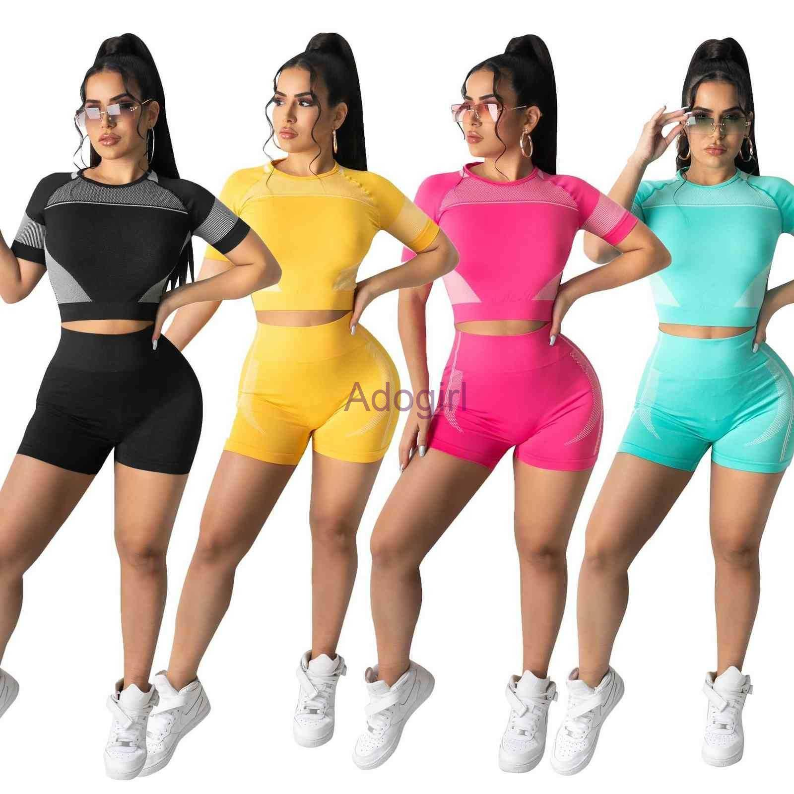 2021 News Summer Women Sportwear Outfits Fashion Casual Printed T Shirt Shorts 2 Piece Set Tracksuits Sportswear Ladies Jogging Suit S-XL