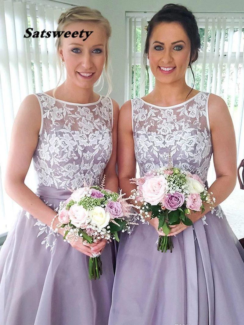 Vintage Scoop Lace Short Bridesmaid Dress Lilac Lavender Tulle Wedding Party Gowns Knee-Length Bridesmaids Dresses 2021 Straples