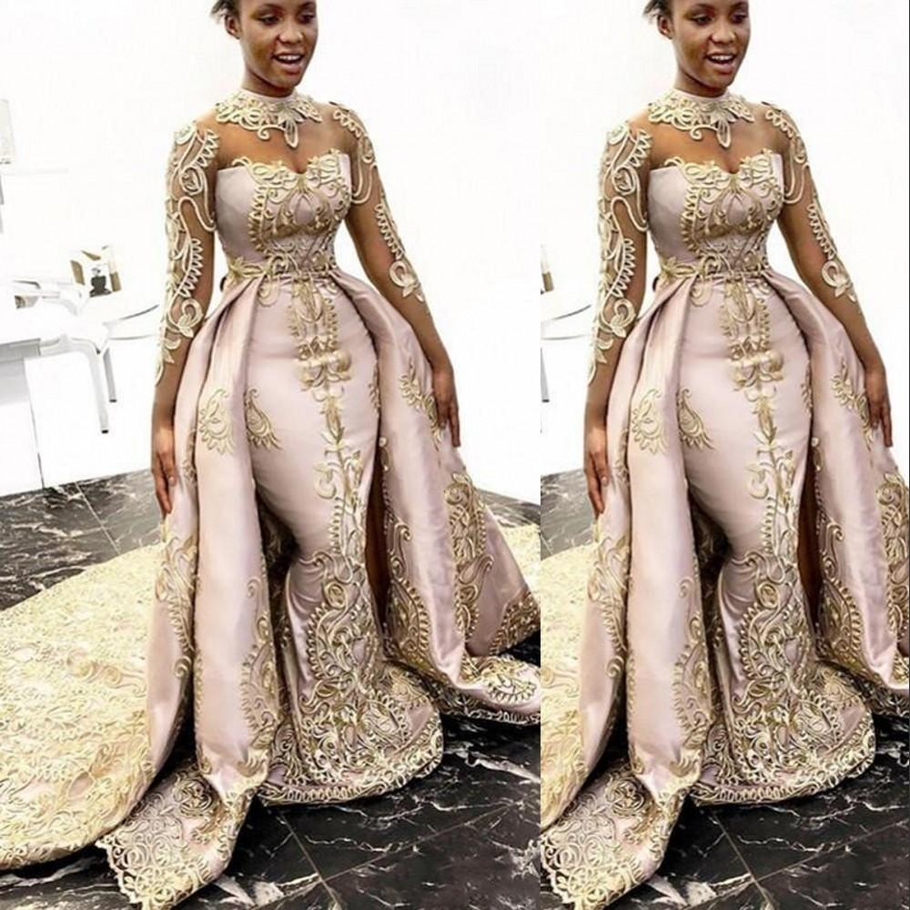 2021 Luxury Arabic Evening Dresses Wear High Neck Illusion Champagne Lace Appliques Long Sleeves Overskirts Detachable Train Plus Size Party Dress Prom Gowns