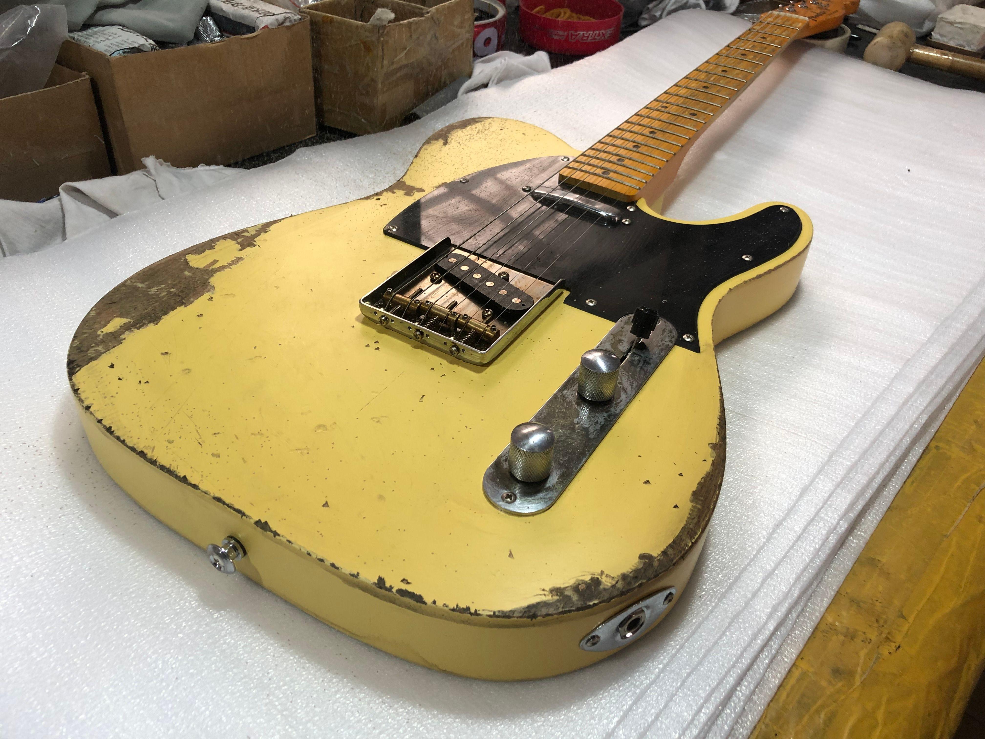 masterbuilt الثقيلة quick الأصفر 1953 tele جيتار الغيتار الكهربائي الجسم، مختصر الرقبة الأصابع، 3 جسر السرج، pickguard الأسود