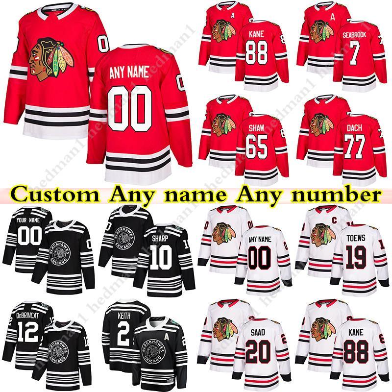 Personalizado Chicago Blackhawks Hóquei Jerseys 88 Patrick Kane 19 Toovs 77 Kirby Dach 12 Alex Debrincat 7 Chelios Qualquer número e nome