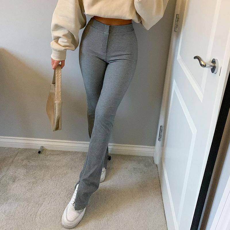 Streetwear Solide Sweatpants Trainingsanzug Frauen Sporthosen Hohe Taille Side Split Mode dünne lange Hose Y2k Capris 210319