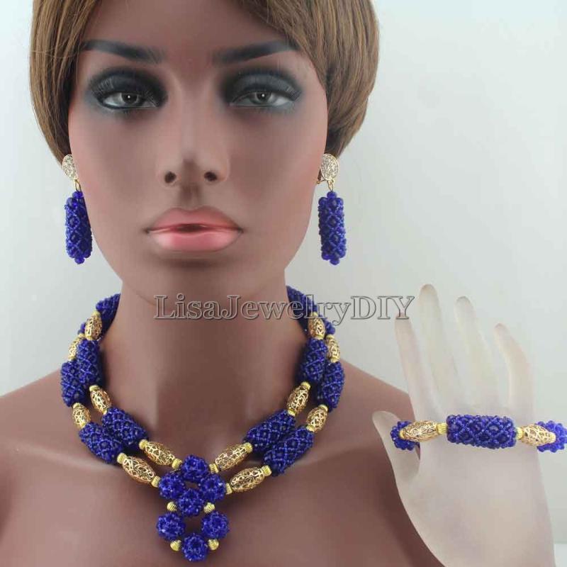 Серьги Ожерелье Royal Blue Crystal Beadant Женщины Свадебные Подружки Невесты Африканские Бусы Ювелирные Изделия HD8690