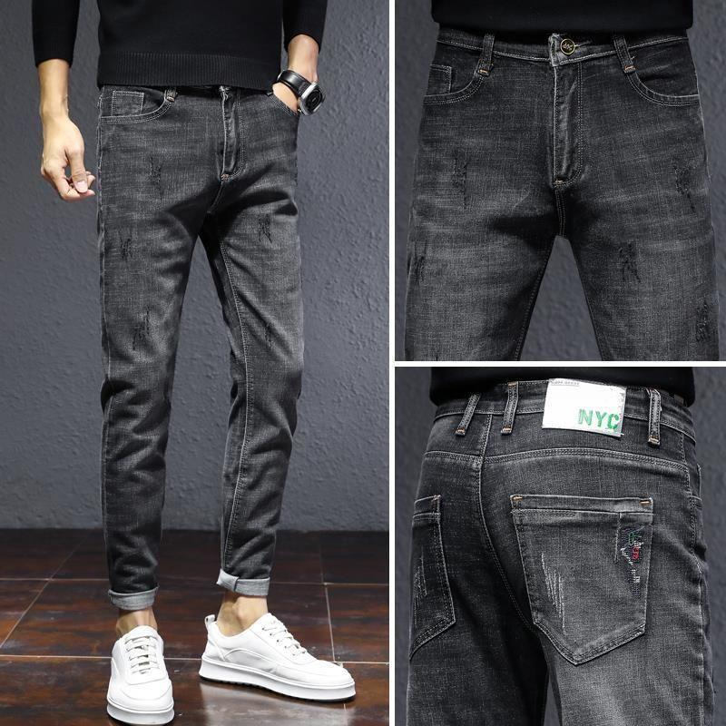 Jeans Brand Spring and Autumn Slim Feet Korean Fashion Casual Quarter Straight Tube Versatile Men's Pants