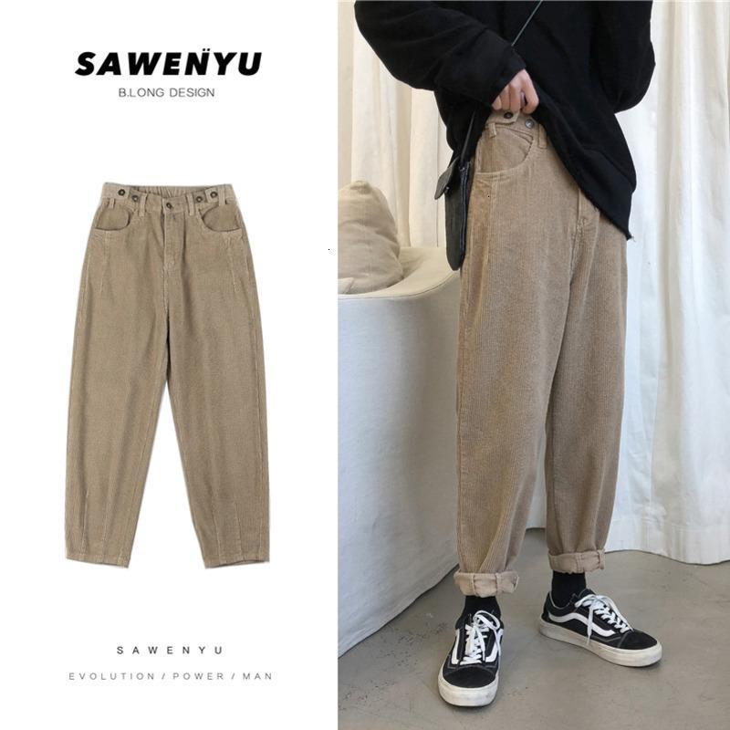 Jeans da uomo in velluto a corduroy Moda uomo solido Retro Casual Straight Men Streetwear in cotone Harem Pants Mens Pantaloni da uomo M-5XL
