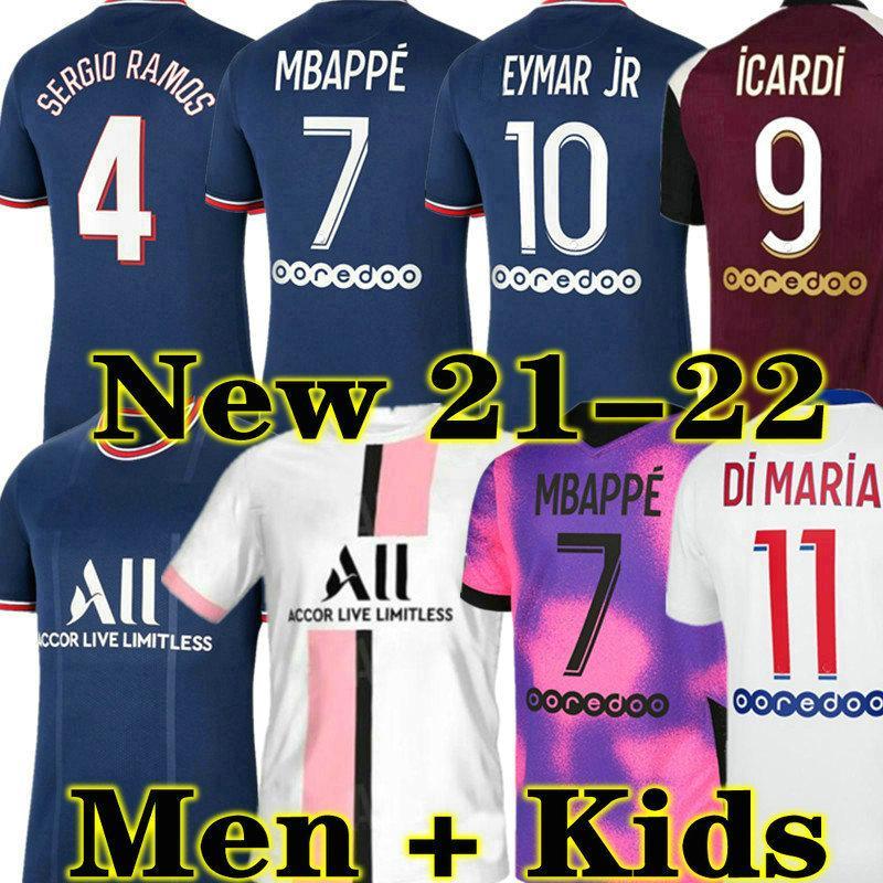 Hakimi Sergio Ramos Mailleots de Football Kits 21 22 كرة القدم الفانيلة 4th 2021 2022 mbappe icardi neymar قميص jr الرجال الاطفال مجموعات مايلوت القدم أوم