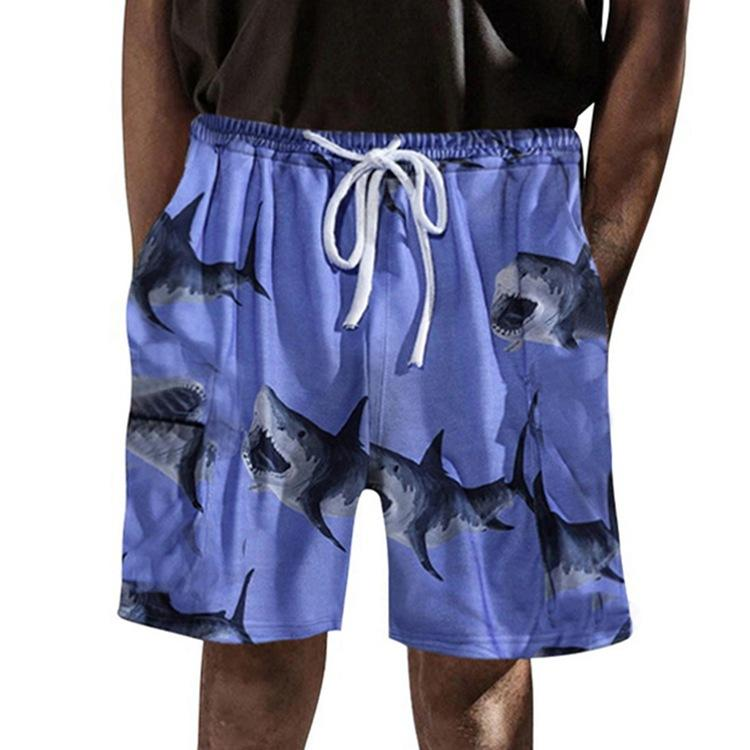 Pantalones cortos SY0082 Pantalones cortos de playa impresos Casual cordón amplio Pierna Ajuste Impresión digital 2021 Hombres Verano