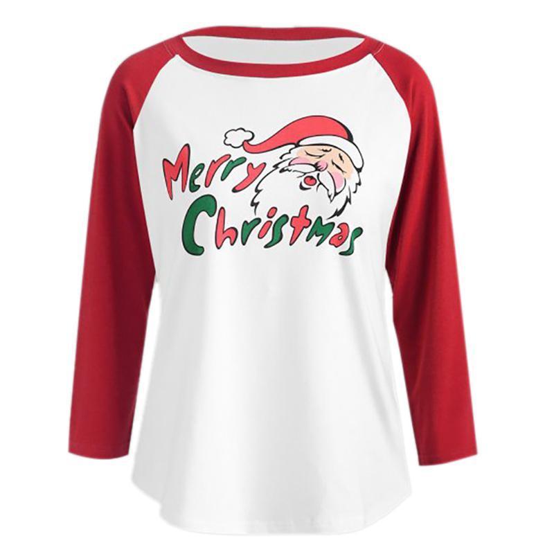Sudaderas con capucha para mujer Sudaderas de manga larga para mujer Papá Noel Impresión de cuello redondo Blusa Tops sueltos Casual lindo Camisa de vacaciones Adecuado Todos Seaso