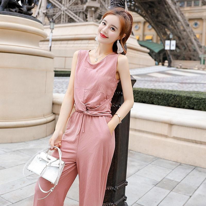 Summer Two Piece Set Simple Elegant Solid Bow Sleeveless Women T Shirts +High Waist Wide Leg Pants Skirts Suit S149 Dress