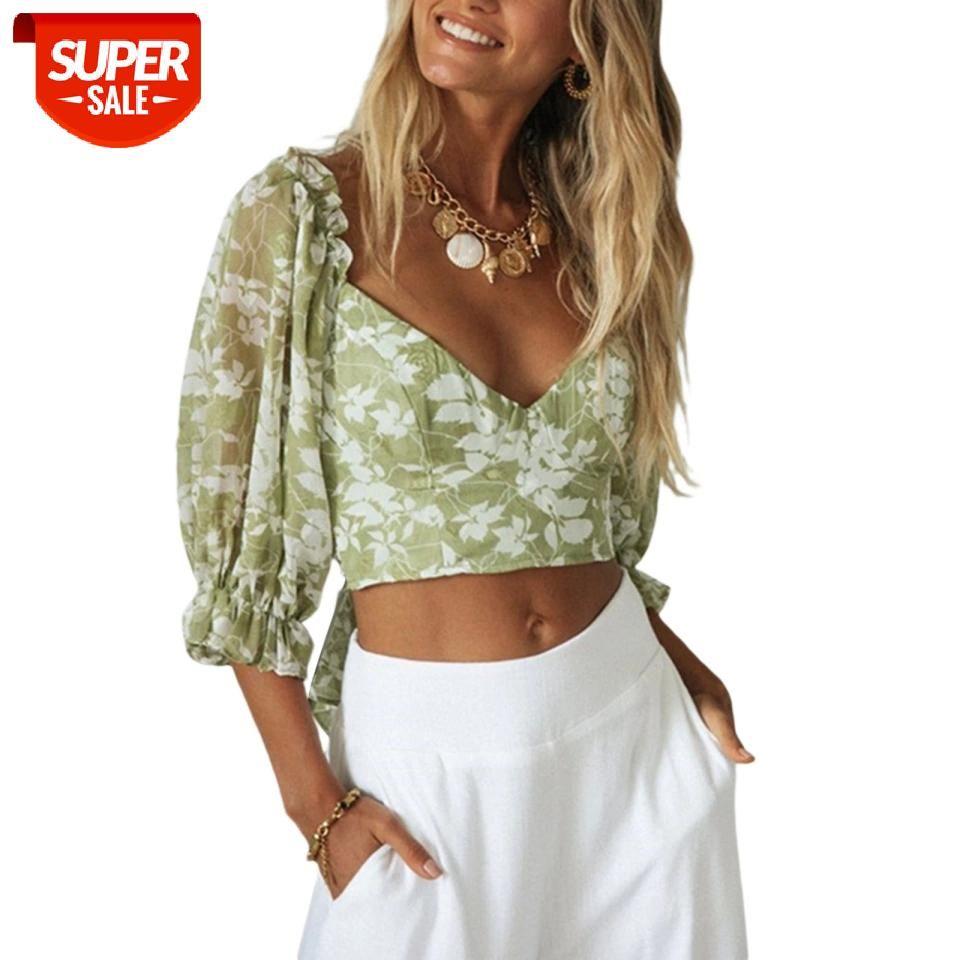 Mulheres T-shirt Flowe Imprimir Lace Middle Manga profunda V Neck Curto Crop Tops Hollowing Out Slim Fit Roupas Borda Borda # 3N8e