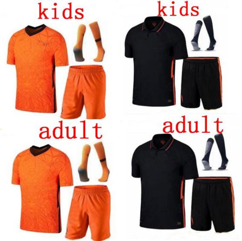 Nederland Pays-Bas Nations League DE JONG kit VIRGILE enfants orange noir jersey de football Accueil MEMPHIS chemises holland de football pour les enfants 2021