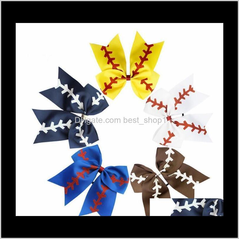 Softball Baby Headband Girl Baseball Cheer Hairbands Rugby Bowknot Dovetail Bows Cheerleading Accessory Ponytail Holders Dxi Accessori Cjan2