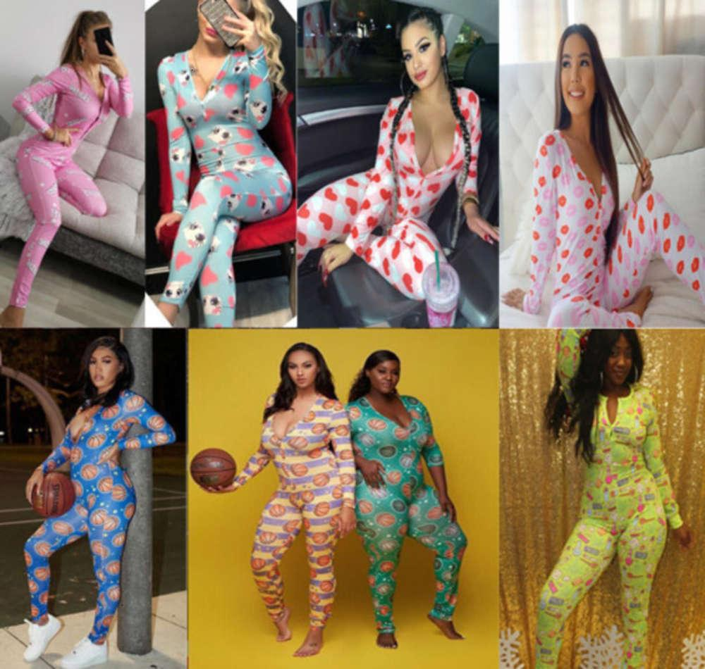 Donne tute Tute Nightwear Workout Bottone Body Body Skinny Hot Stampa a maniche lunghe Manica V-Neck Pajama Onesies Donne Plus Size Pagliaccetti 9ouc