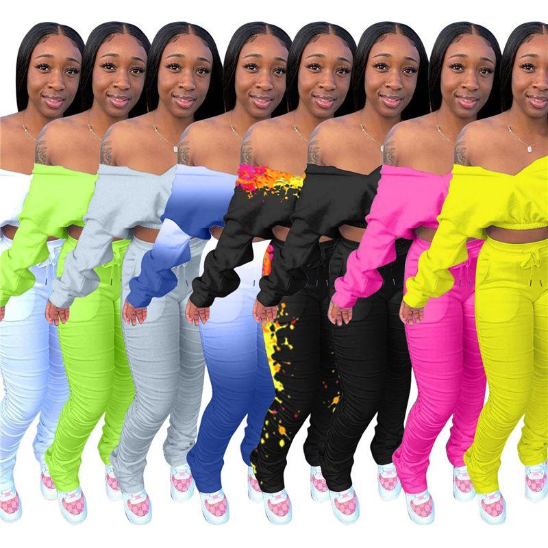 Frauen Batwing Sleeve 2 stücke Sets Mode Trend Langarm V-ausschnitt Kurz Tops Falten Hose Anzüge Designer Weibliche Winter Neue Casual Slim Trainingsanzüge