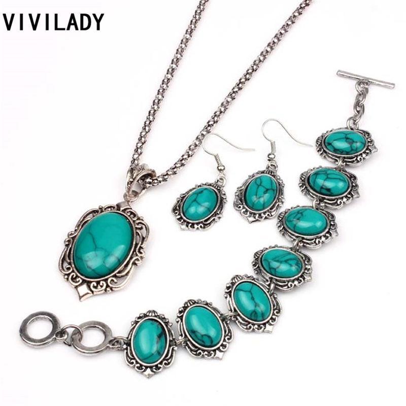 أقراط قلادة Vivilady 3 قطع الأزرق الطبيعي حجر مجوهرات مجموعات النساء البيضاوي المعلقات سلسلة طويلة القلائد سوار الأزياء الهدايا