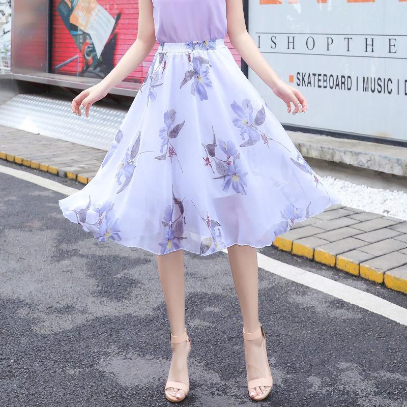 Skirts 2021 Summer Women High Waist Floral Flower Print Casual Loose Ladies Fairy Knee Skirt Elegant Elastic W19