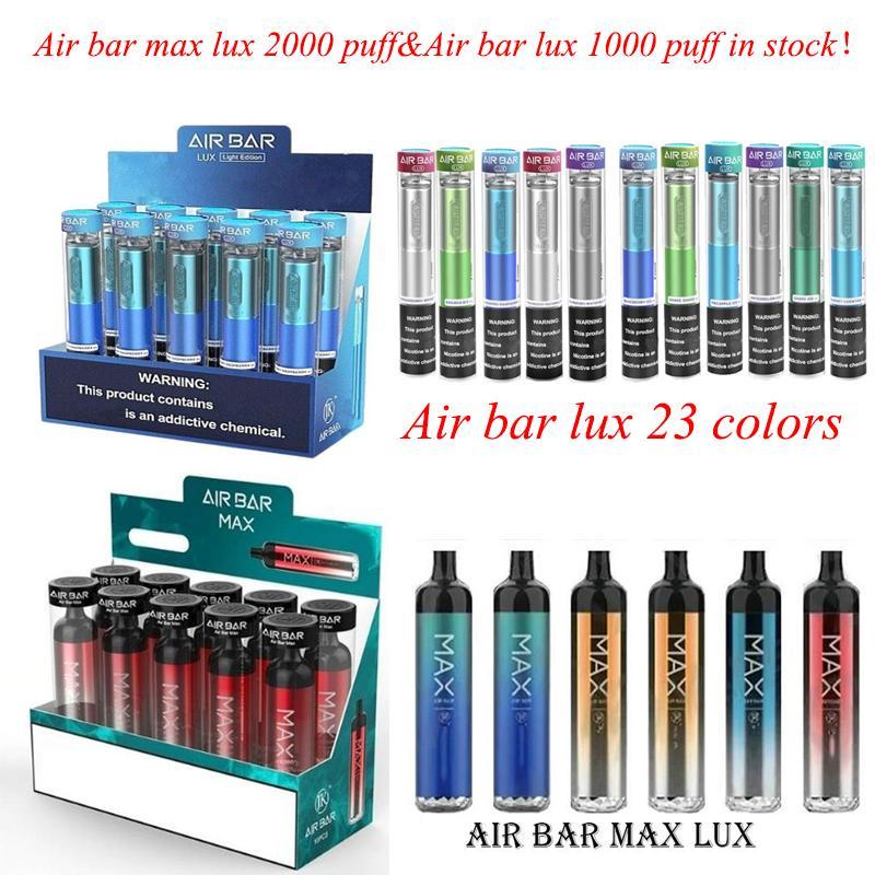 Barra de aire MAX LUX E-CIGATETTES Dispositivo desechable recargable Cigarrillos 2000 Puffs 6.5ml Vapas de vape rellenas previas 1250mAh Batería Aviliable