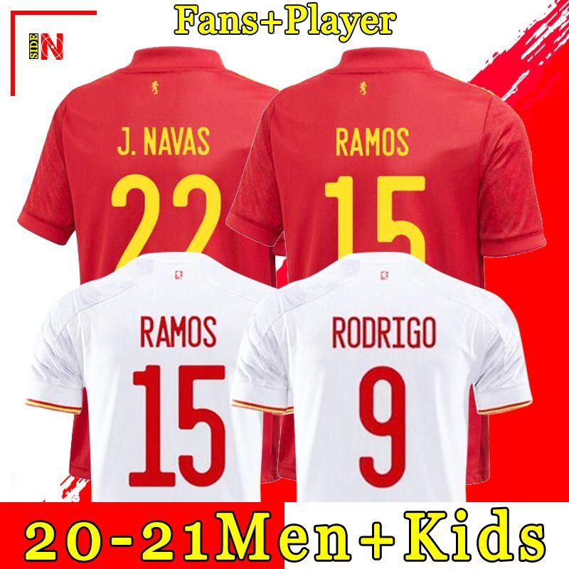 Футболка из Испании RAMOS PIQUE Домашняя футбольная рубашка в Испании 20-21 ASENSIO MORATA ISCO INIESTA Футболка для футбола Гостевая форма Мужчины + дети