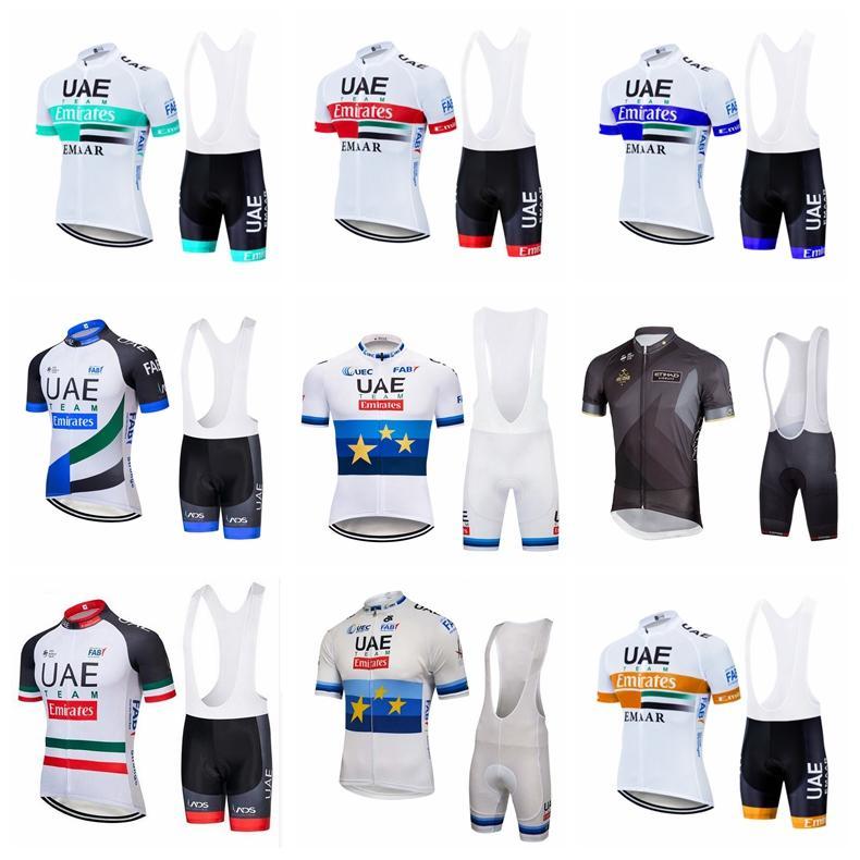 ОАЭ ABU DHABI Team Pro Велоспорт Короткие рукава Джерси нагрудника Шорты нагрузочные Наборы дышащих велосипедных джерси с коротким рукавом ткань MTB ROPA Ciclismo 102410