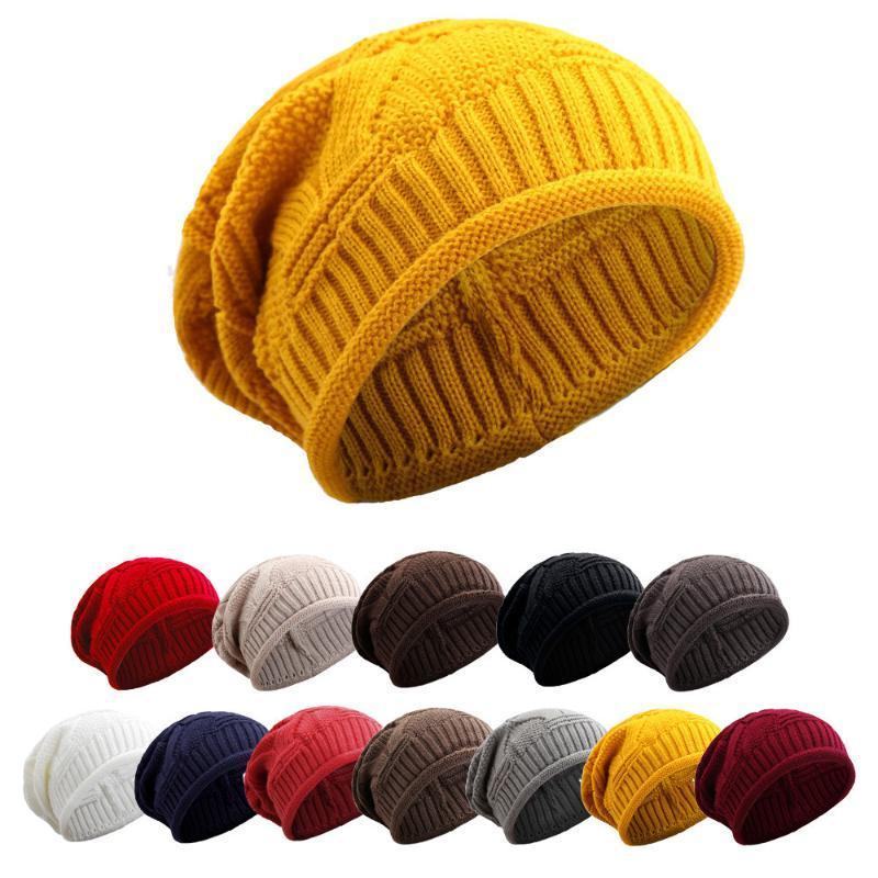 Otoño e invierno Mujeres Cálido Acrílico Sombrero Hombres Casual Rayado Gorros de punto 11 Colores Beanie / Cappas de cráneo