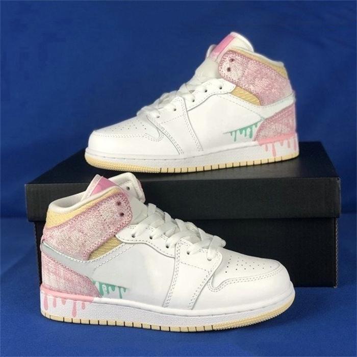 1 низкий GS краска капельница женская обувь белый розовый прекрасный спортивный баскетбол обувь тренер jumpman 1s mid trainers strikers кроссовки
