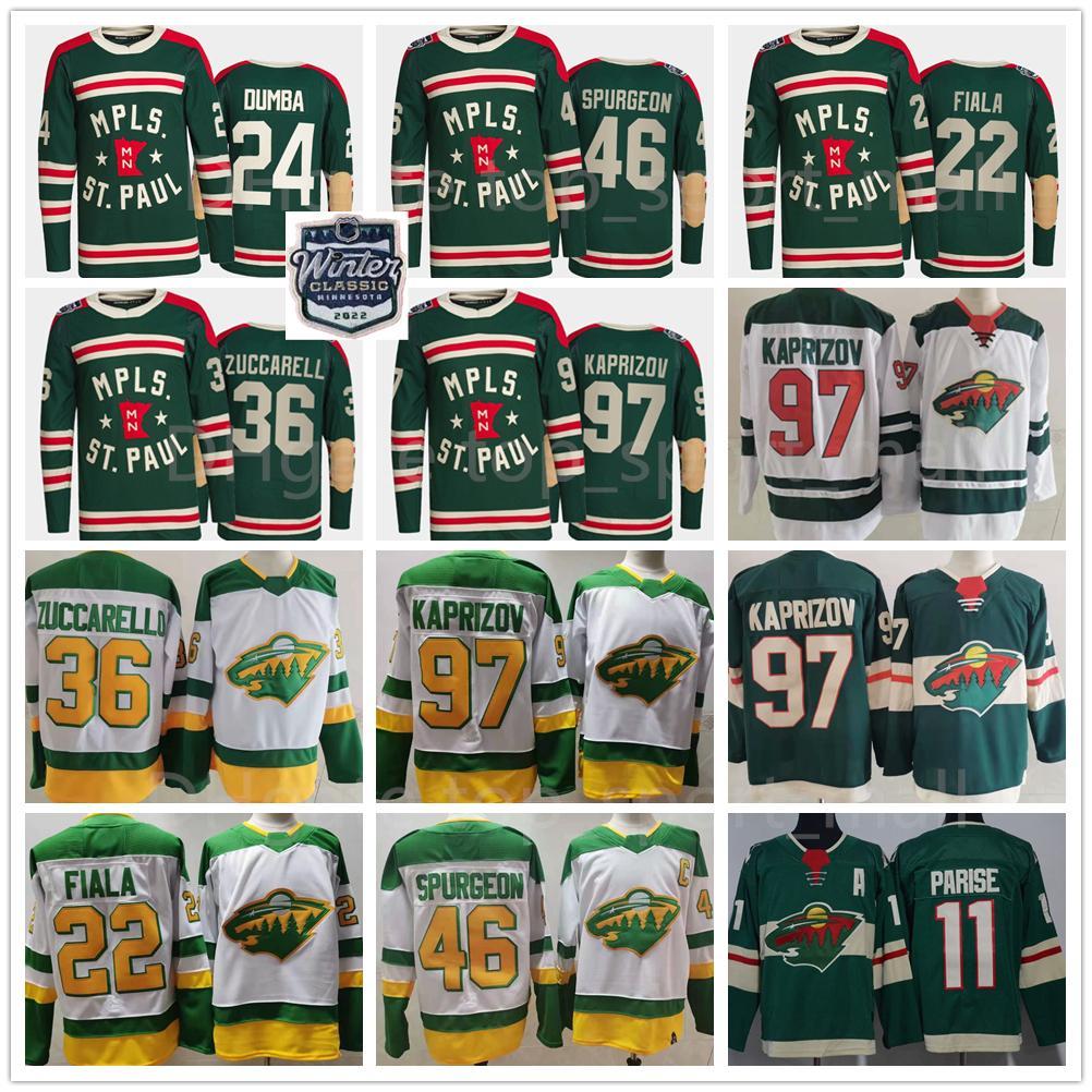 2022 Invierno Clásico Hockey Minnesota Wild 97 Kirill Kaprizov Jersey 46 Jared Spurgeon Zach Parise Kevin Fiala Mats Zuccarello Matt Dumba Retro Retro MPLS San Pablo